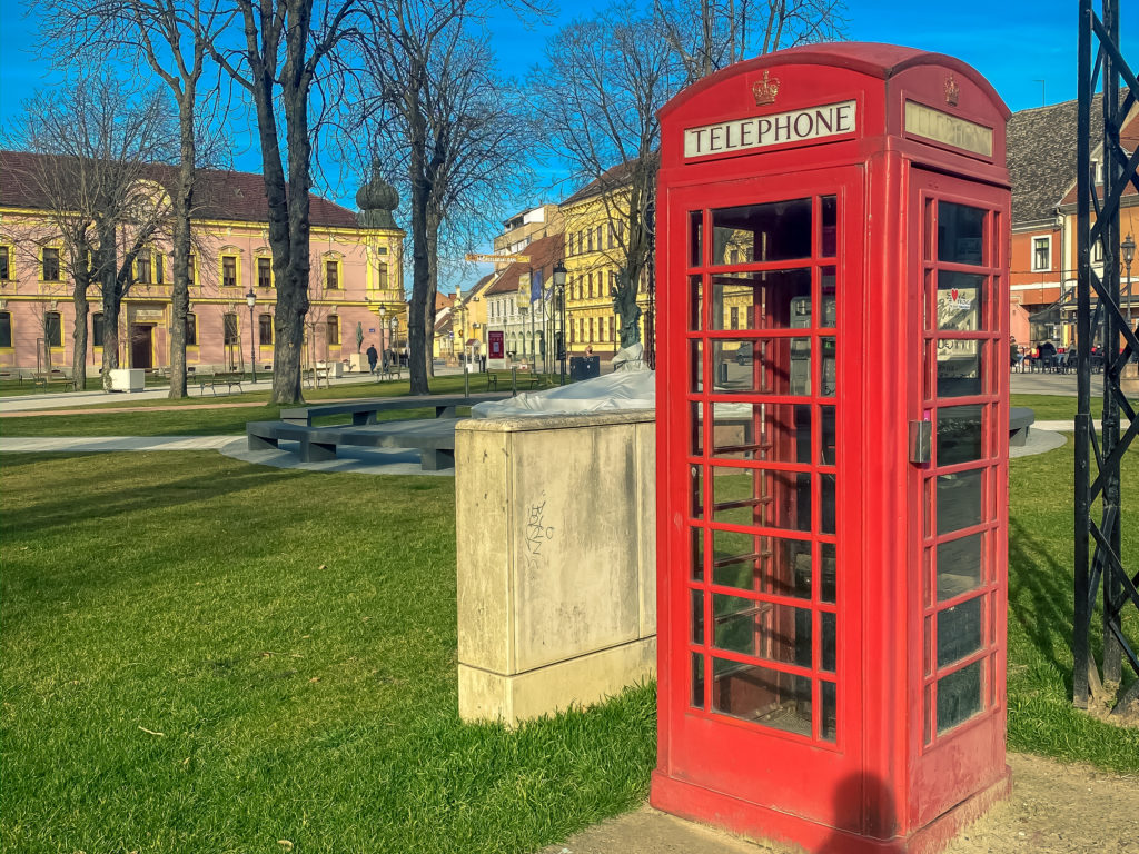 Classic red British telephone box has become a symbol of Vinkovci