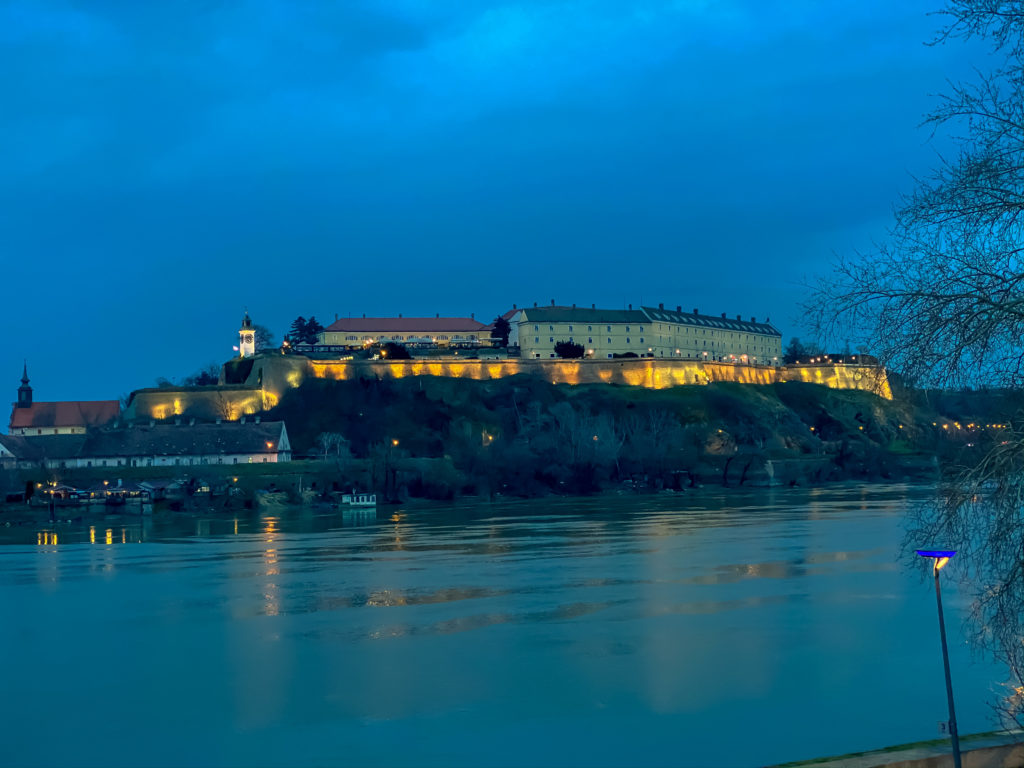 This is a Petrovaradin fortress on river Danube, by night, view from Novi Sad