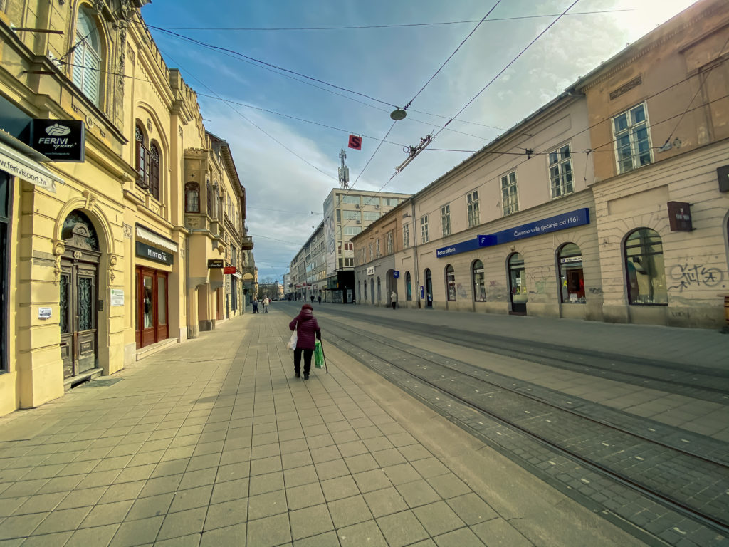 Empty streets of Osijek, a large fall in property prices in Croatia 2020