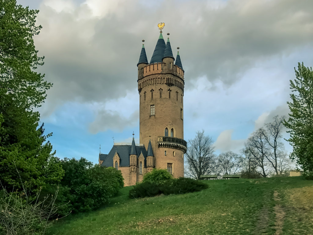 Potsdam, Germany, overlooking the Flatow Tower in Babelsberg Park