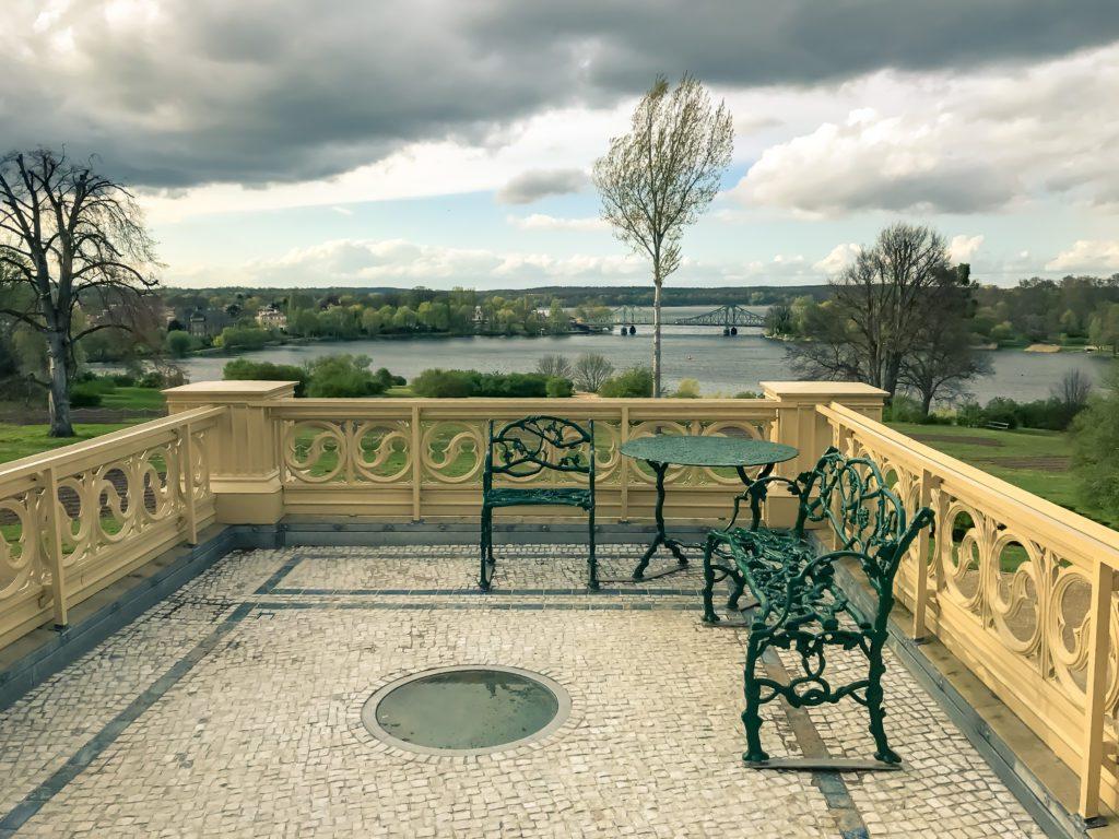 The Glienicker Bridge is seen from Babelsberg Palace in Potsdam, Germany,