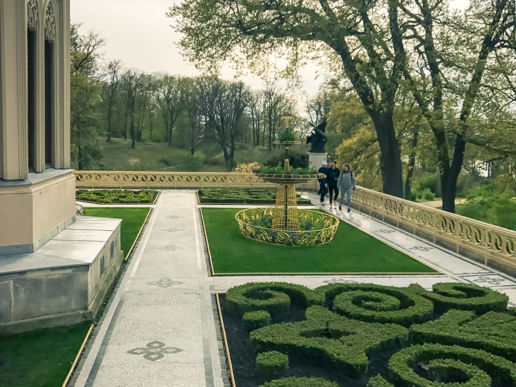 The golden rose garden in the park of Babelsberg Palace in Potsdam, Germany