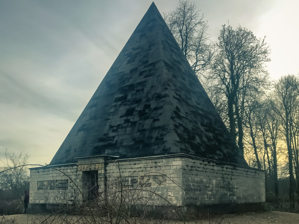 Scenery of park in winter season and Pyramide im Neuen Garten, Pyramid building in the New Garden, in Potsdam, Germany