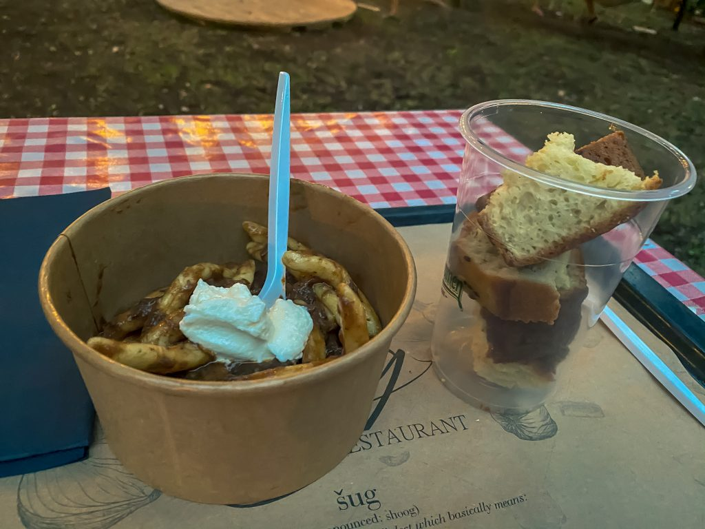 Šug Restaurant Split - You can taste a shrimp broth, macaroni with salsa, and shrimp Pâté.